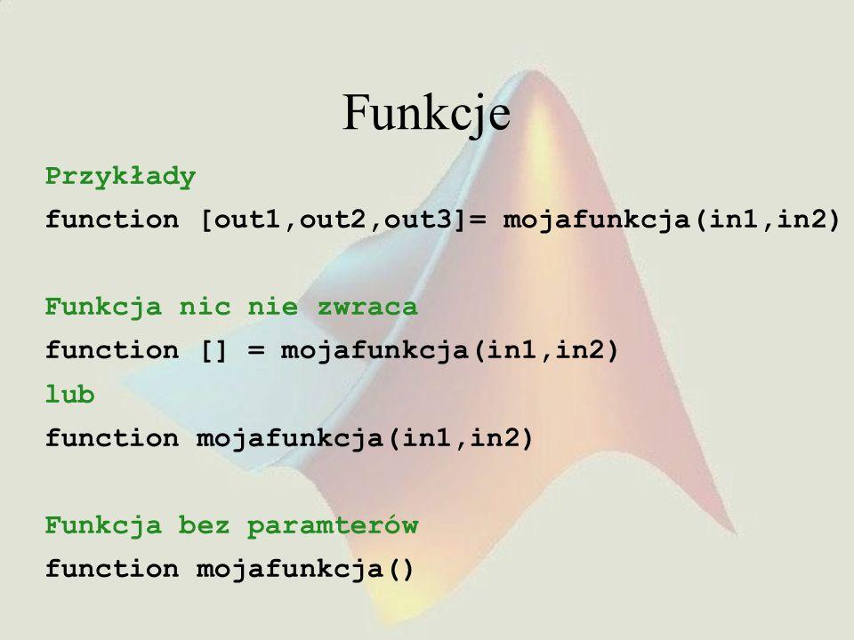 Funkcje Przykłady function [out1,out2,out3]= mojafunkcja(in1,in2)